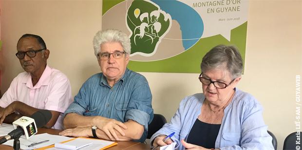 Jean-Claude Mariema, Roland Peylet et Claude Brévan de la Commission particulière du débat public Montagne d'or